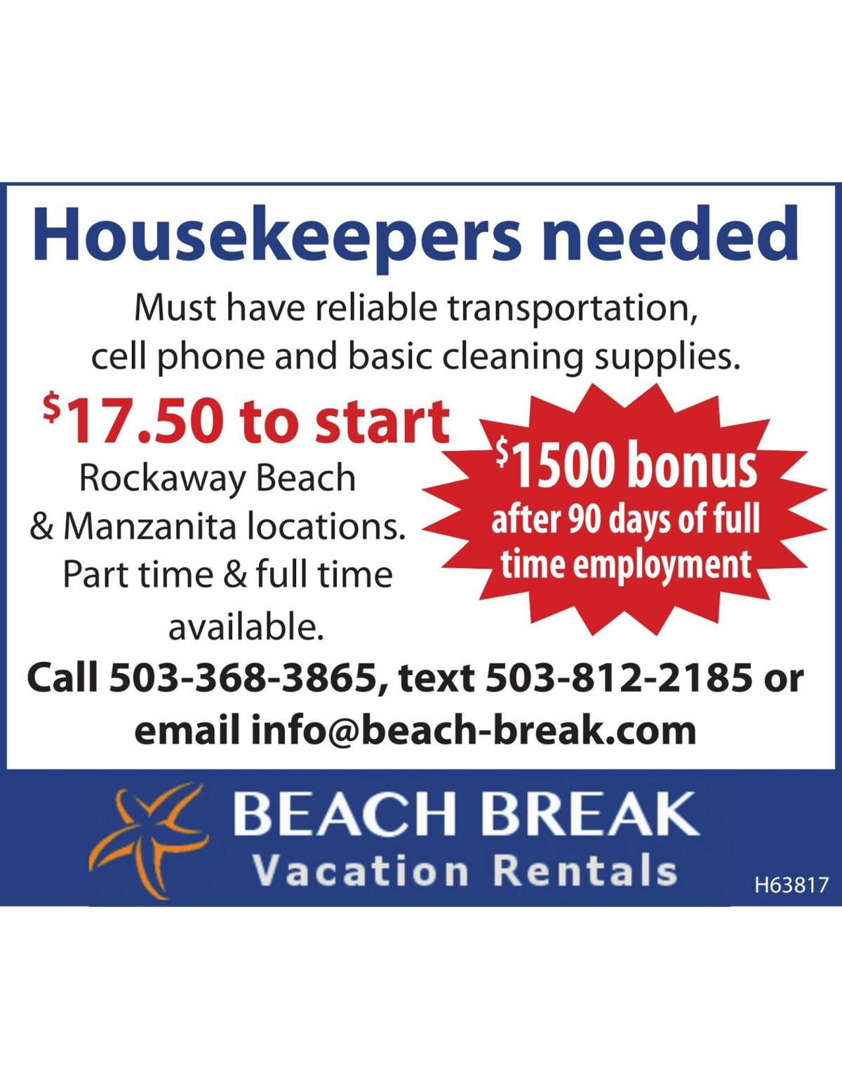 Hosekeepers Needed 1500 dollar bonus Beach Break Vacation Rentals Oregon Coast 070621