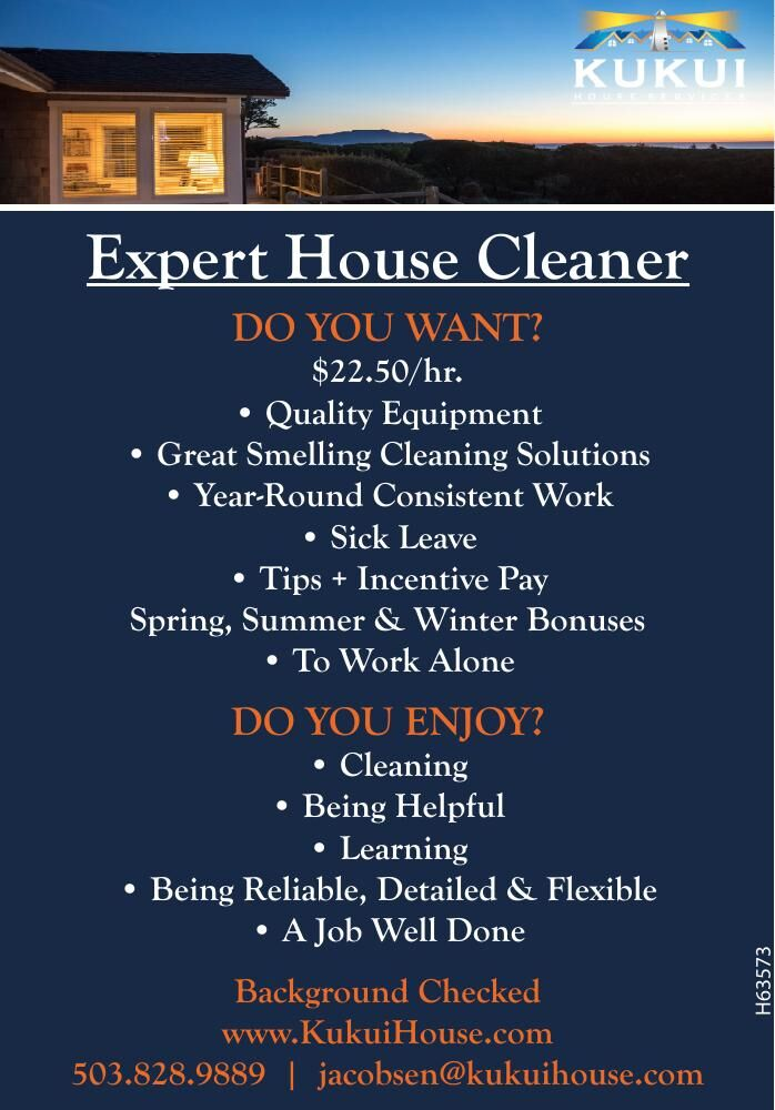 Hiring Expert Housecleaner at Kukui, Cannon Beach, OR 052821