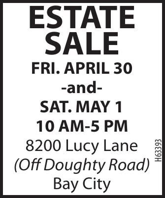 Estate Sale in Bay City April 30 and May 1, 2021