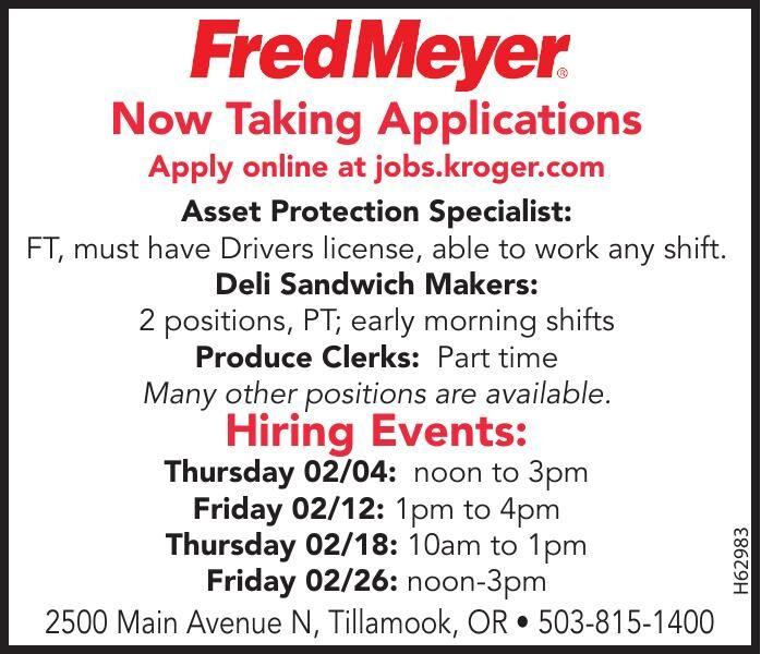 Tillamook Fred Meyer Job Fair