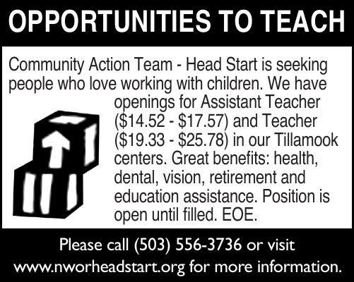 Tillamook Headstart Current Job Openings 2x2