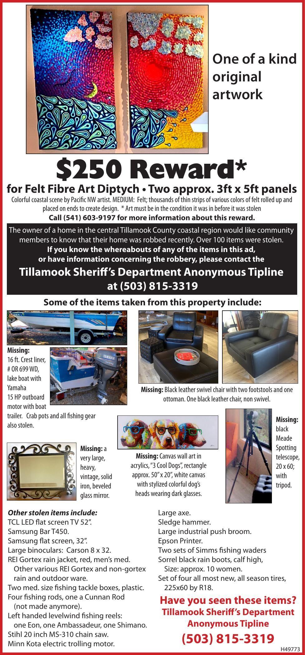 REWARD-Stolen Art Tillamook County 110420