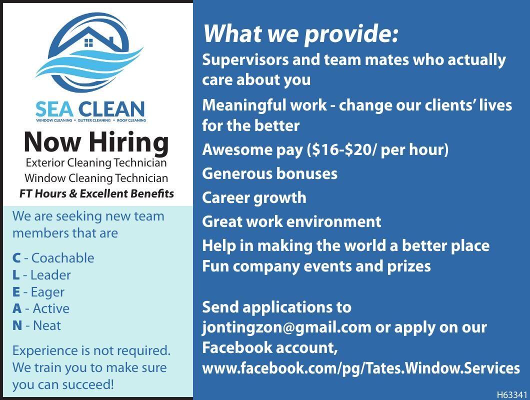 Hiring at Sea Clean in Cannon Beach 041321
