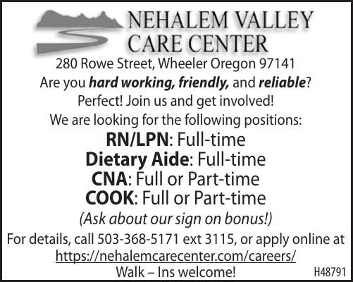 Current Openings Nehalem Valley Care Center 030620