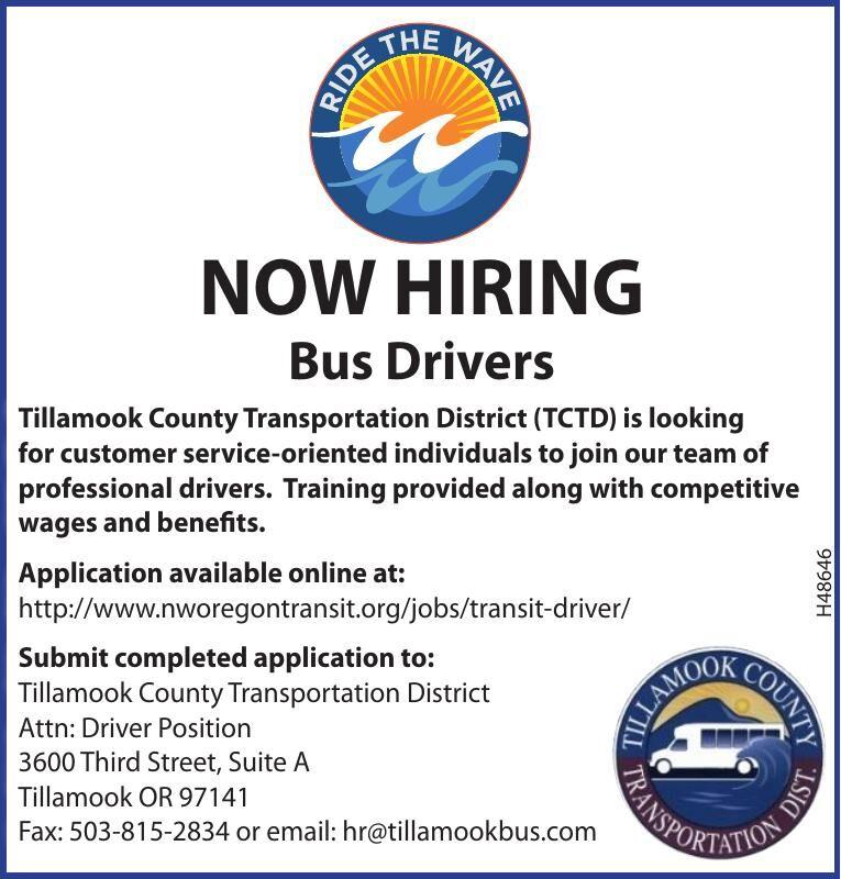 Hiring Bus Drivers Tillamook County Transportation District 061720