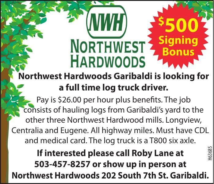 Hiring Log Truck Driver NW Hardwoods, Garibaldi 061521