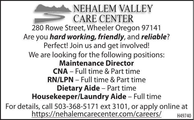 Current Openings-Nehalem Valley Care Center, Wheeler, OR 102820
