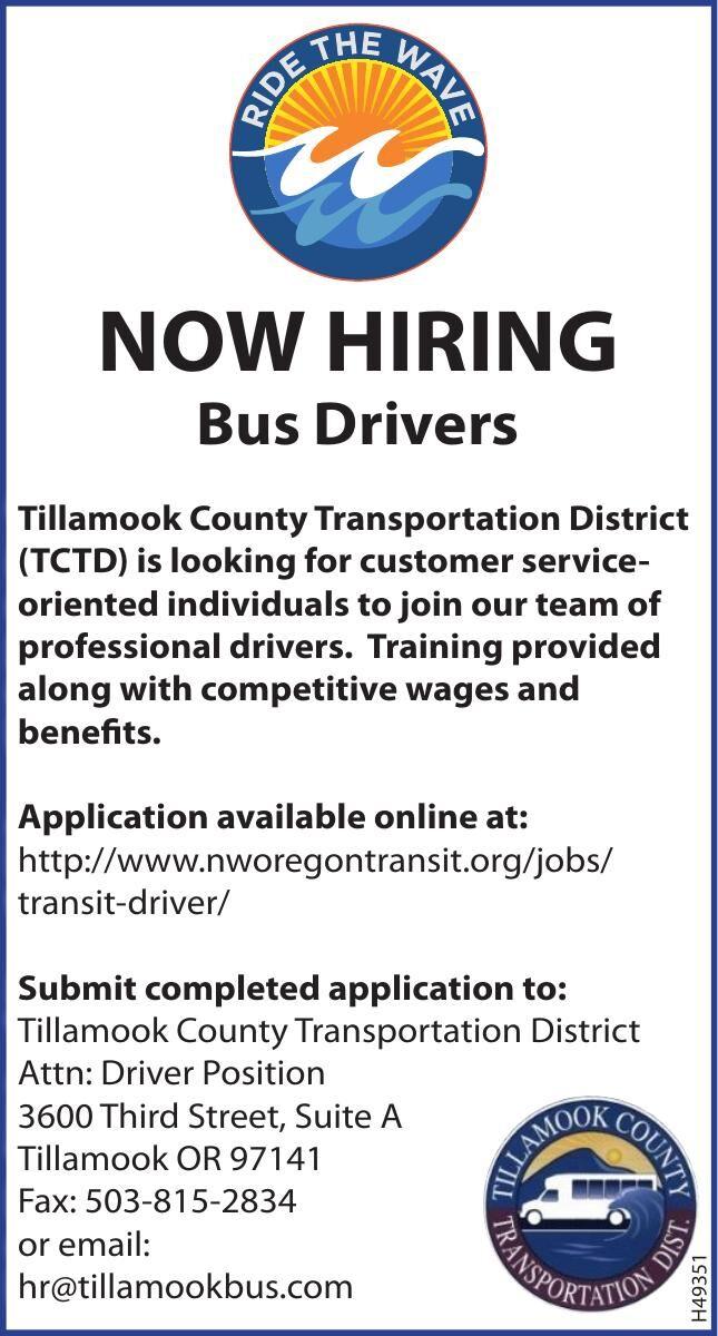 Hiring Bus Drivers-Tillamook County Transportation Dist.
