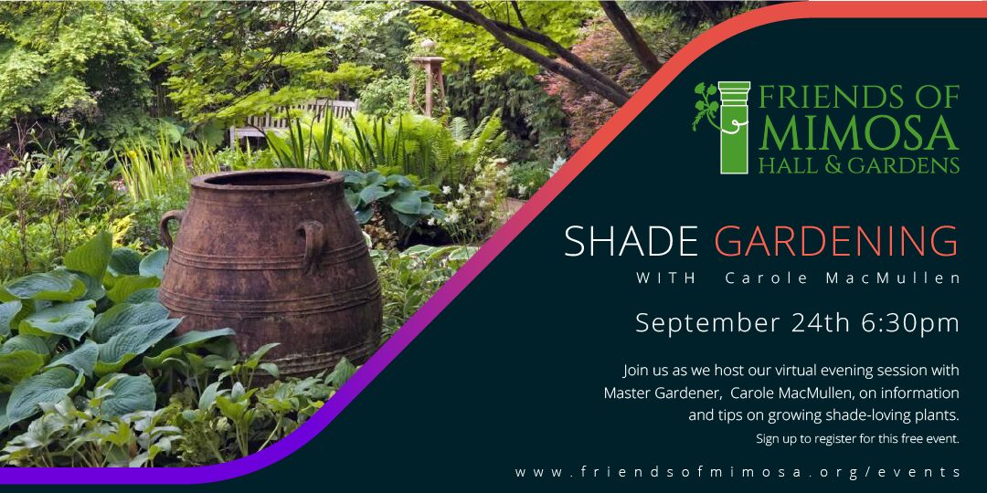 Shade Gardening with Master Gardener Carole MacCullen – Hosted by Friends of Mimosa Hall and Gardens
