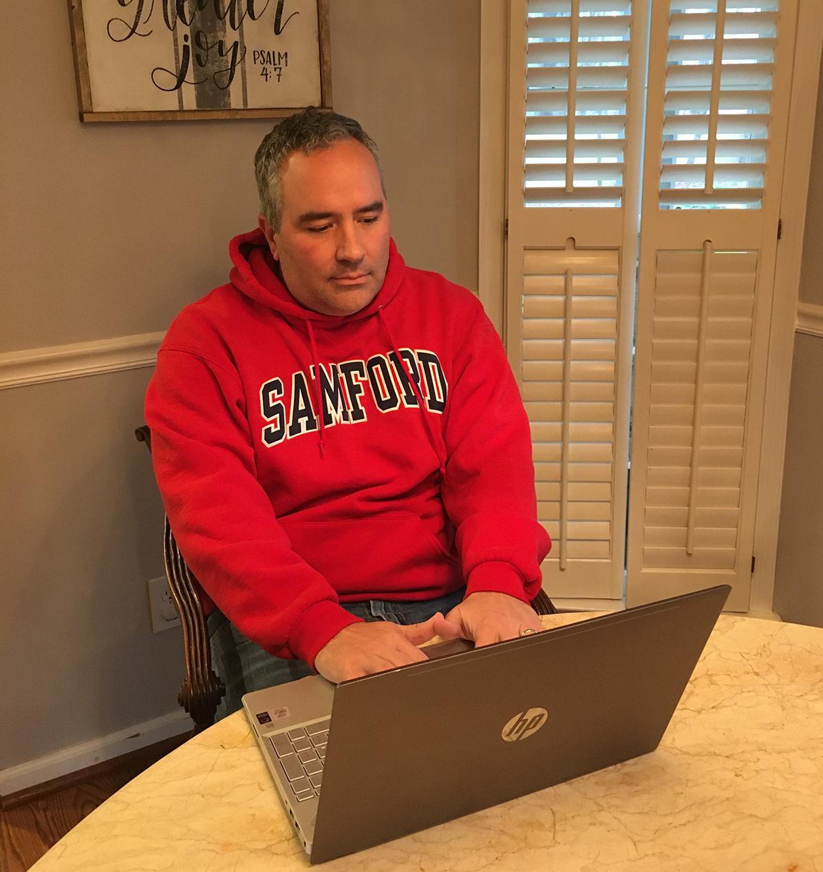 Ben Burnett at Computer