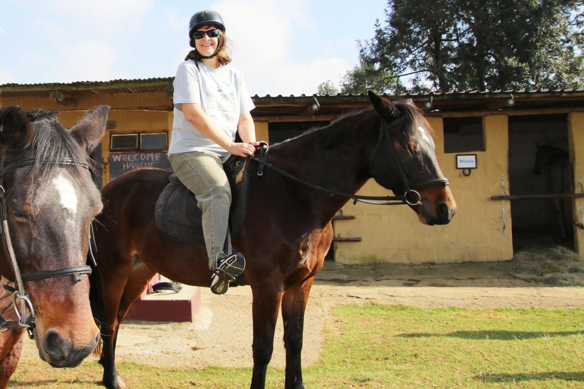 Marisa Meisters horseback riding in Eswatini, Africa