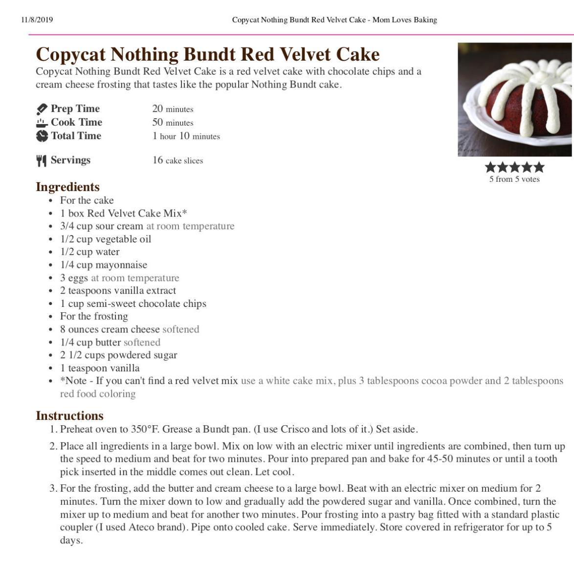Nothing Bundt Cake recipe