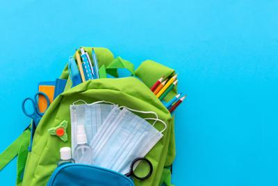 Backpack with school supplies and set of sanitizers.