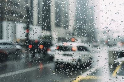 STOCK blurry window rain car