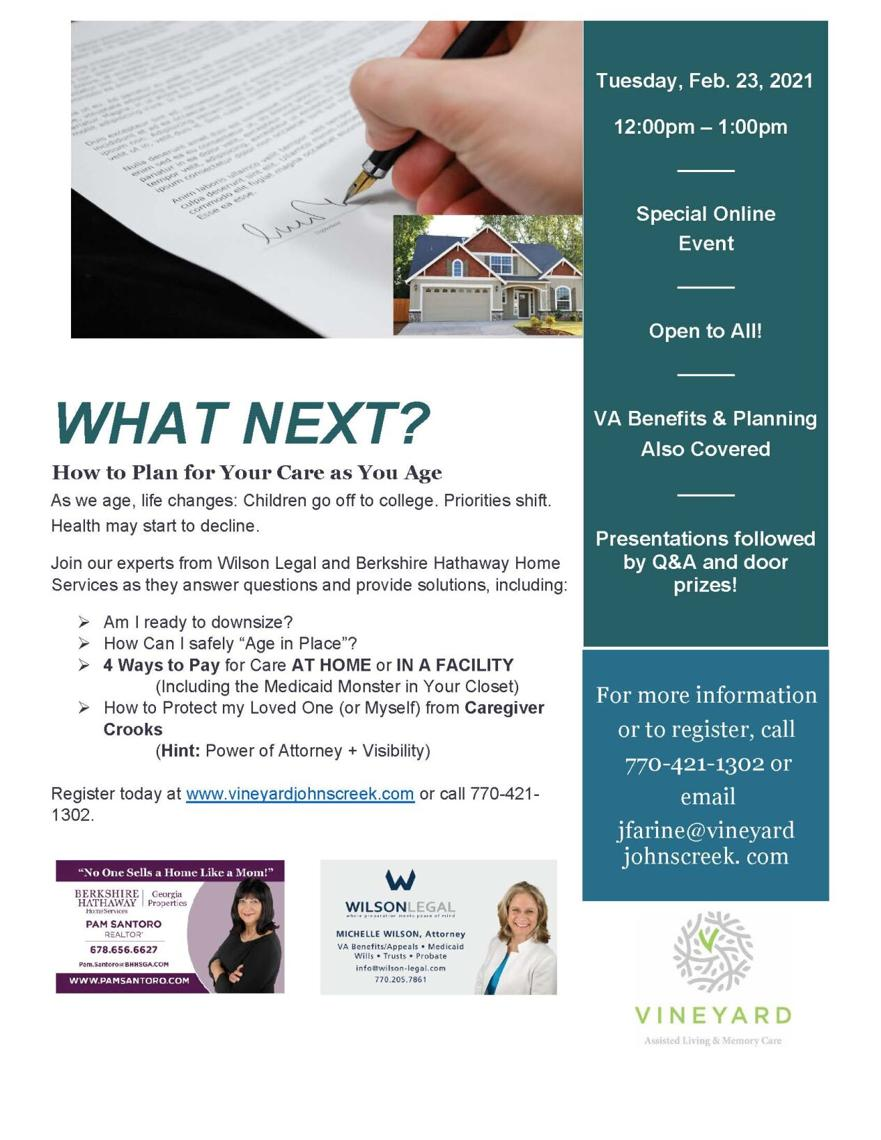 Planning for Care as You Age Zoom Event Feb. 23