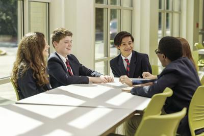 students at table