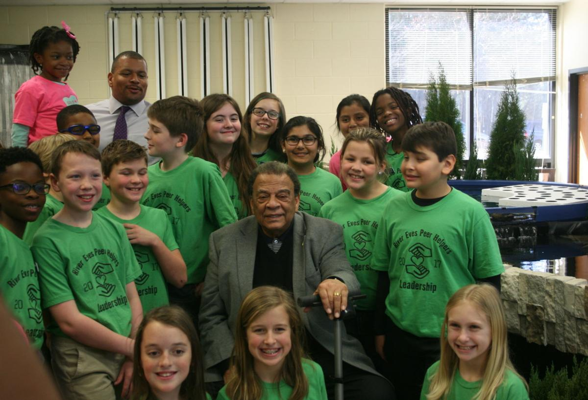 Andrew Young visits River Eves Elementary