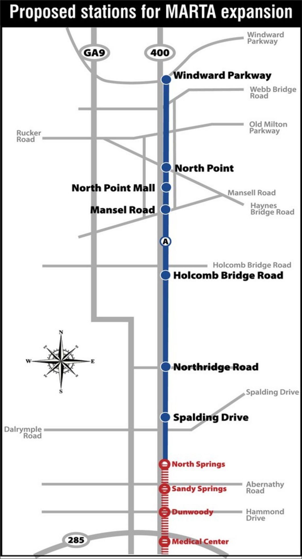 MARTA narrows options for Ga  400 expansion: Rail could run