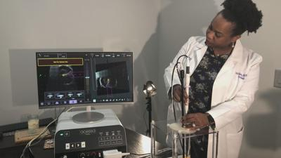 Dr. Soyini Hawkins demonstrating  the Acessa Procedure