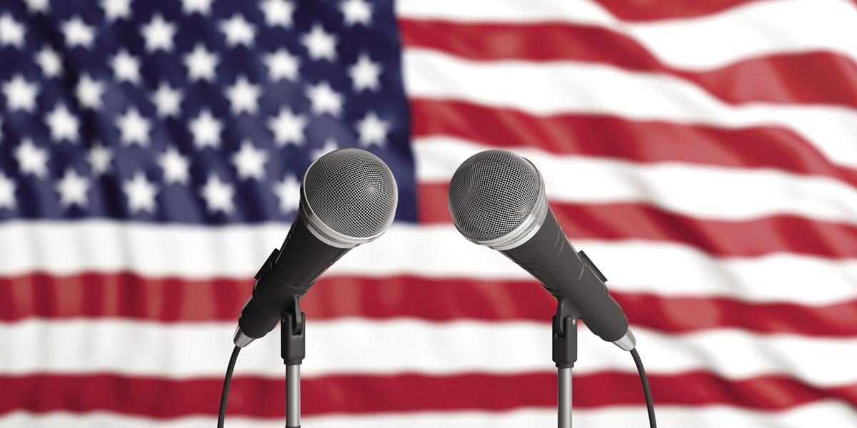 Stock microphones in front of USA flag