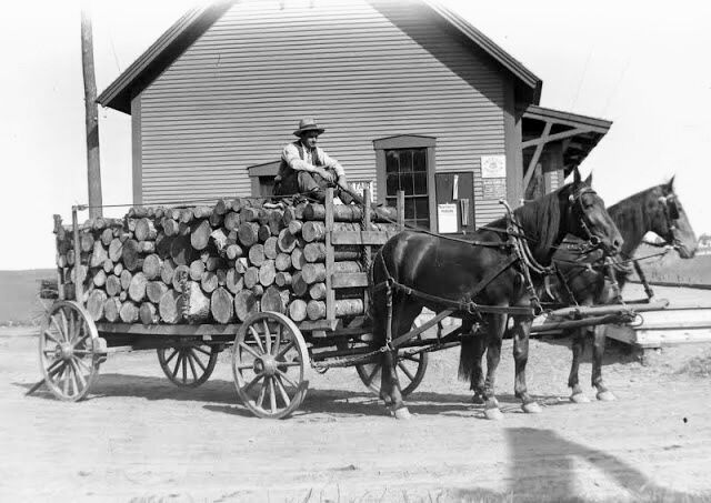 C.H. Davis with  load of wood -1908 in front of Danville Railroad Station - Danville Historical Society.jpg