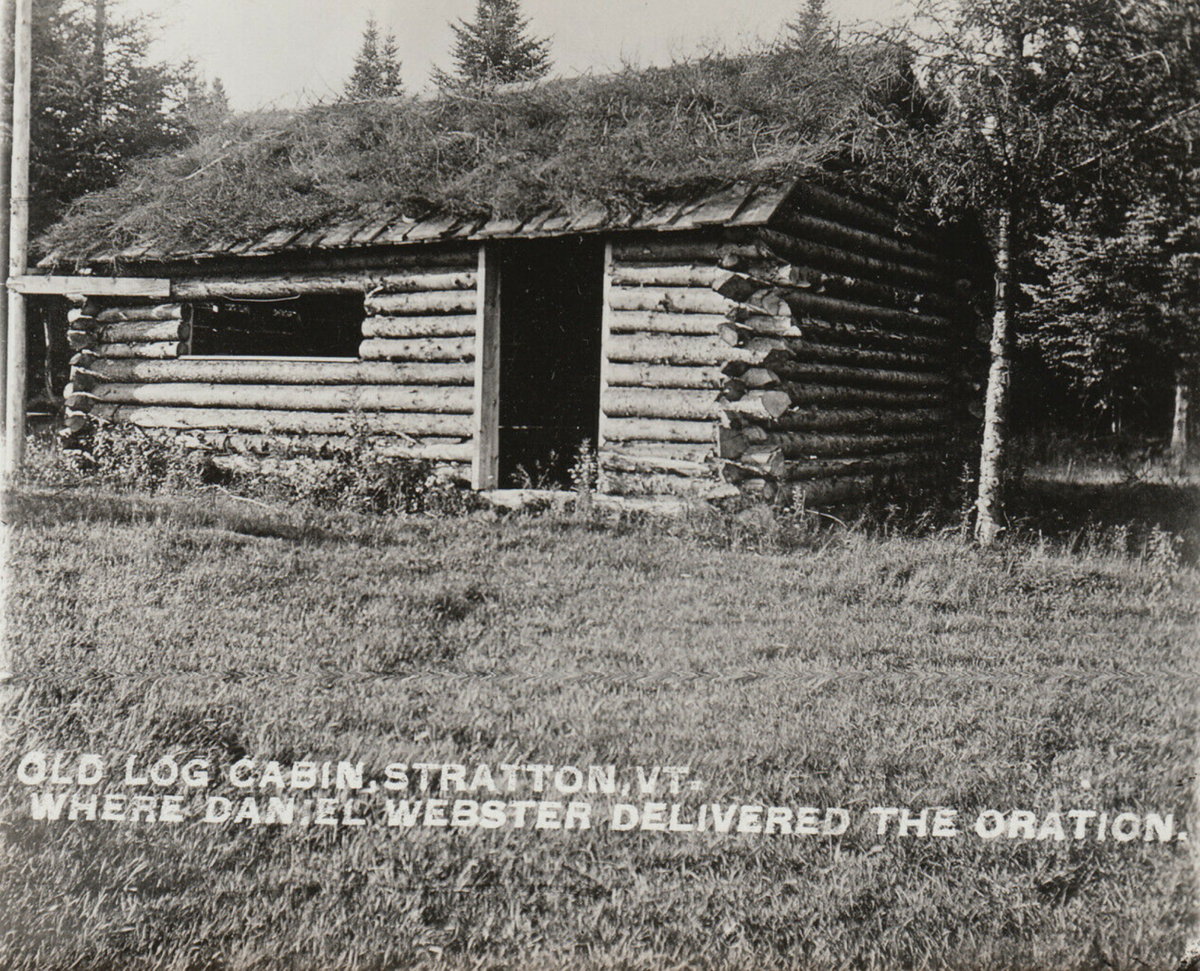 Historic postcard of the log cabin at Webster's Vermont speech location.png