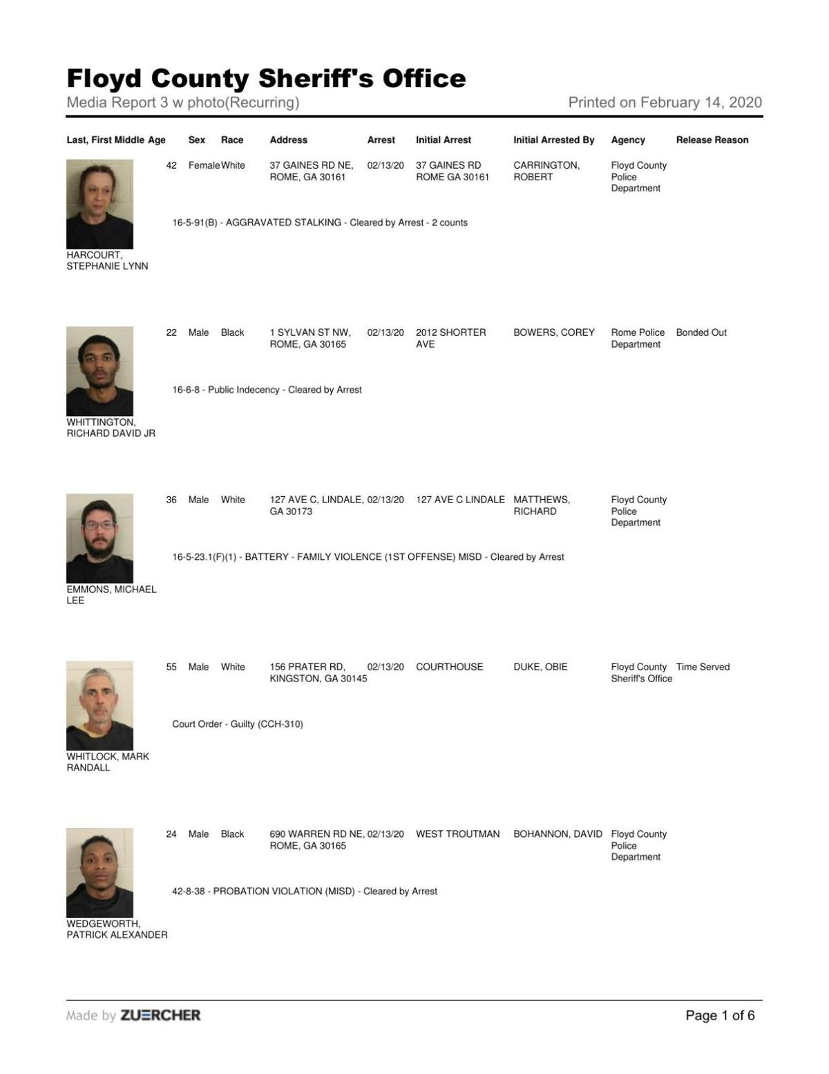 Floyd County Jail report for 8 a.m. Friday, Feb. 14