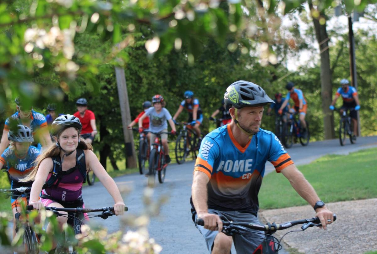Youth mountain bike team practices at Jackson Hill in preparation for race at Kingston Downs