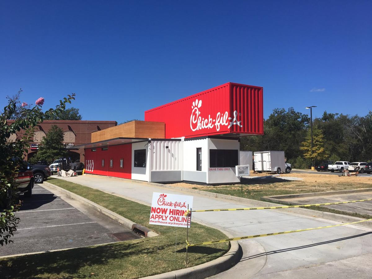 Temporary Chick-fil-A in the Riverwalk shopping center shaping up