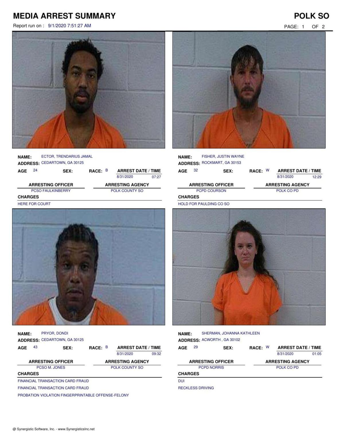 Polk County Jail Report for Tuesday, Sept. 1