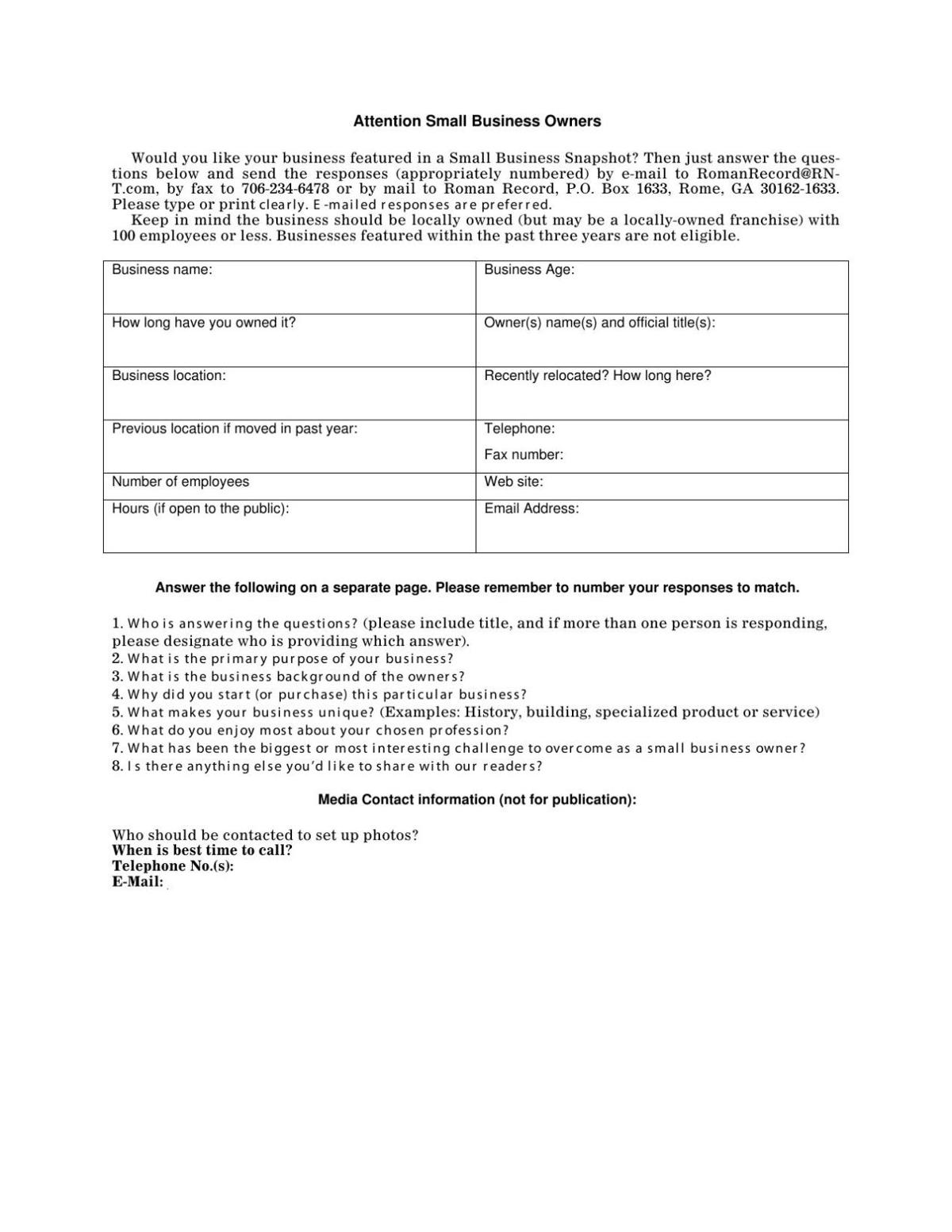 Small Business Snapshot form