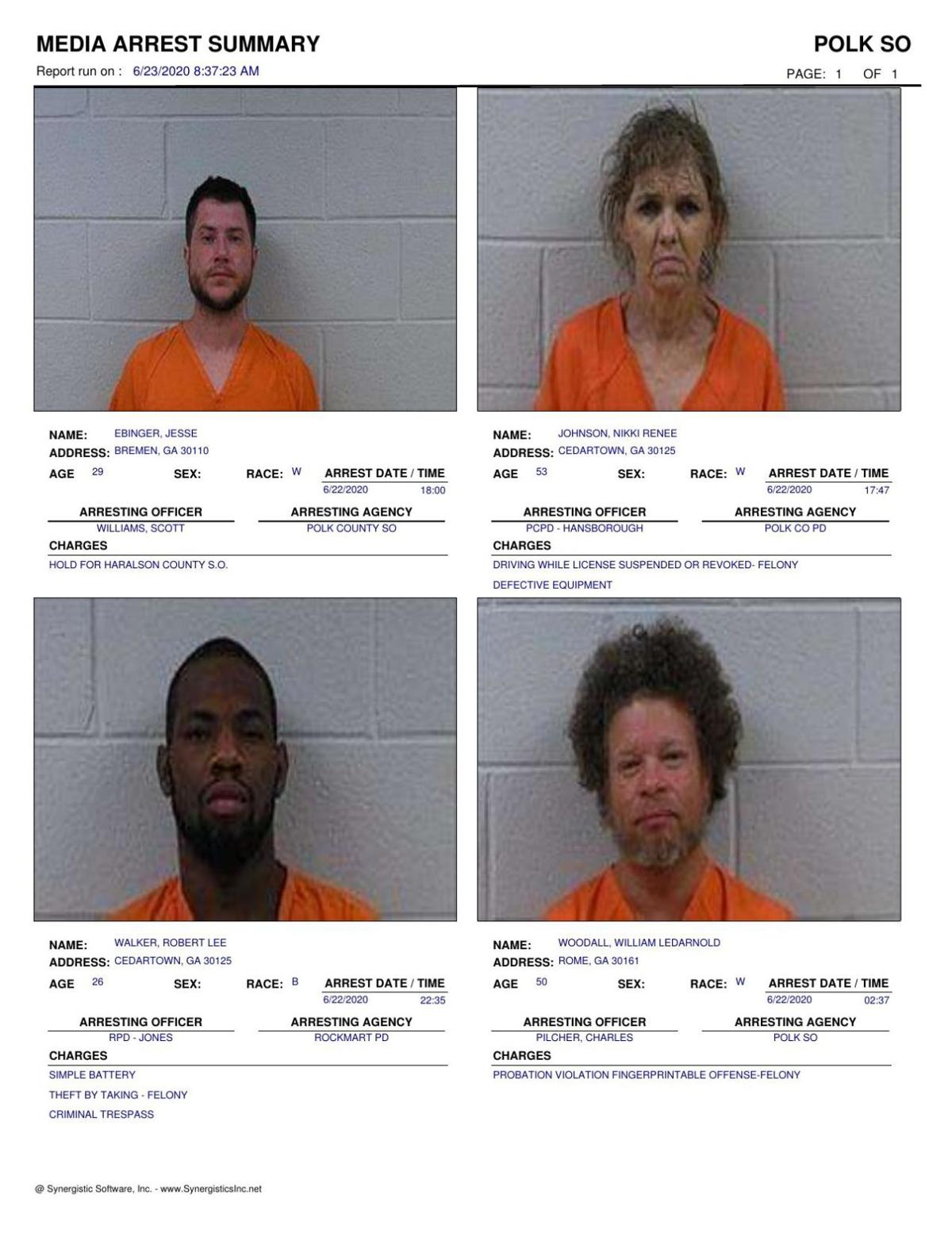 Polk County Jail Report for Tuesday, June 23