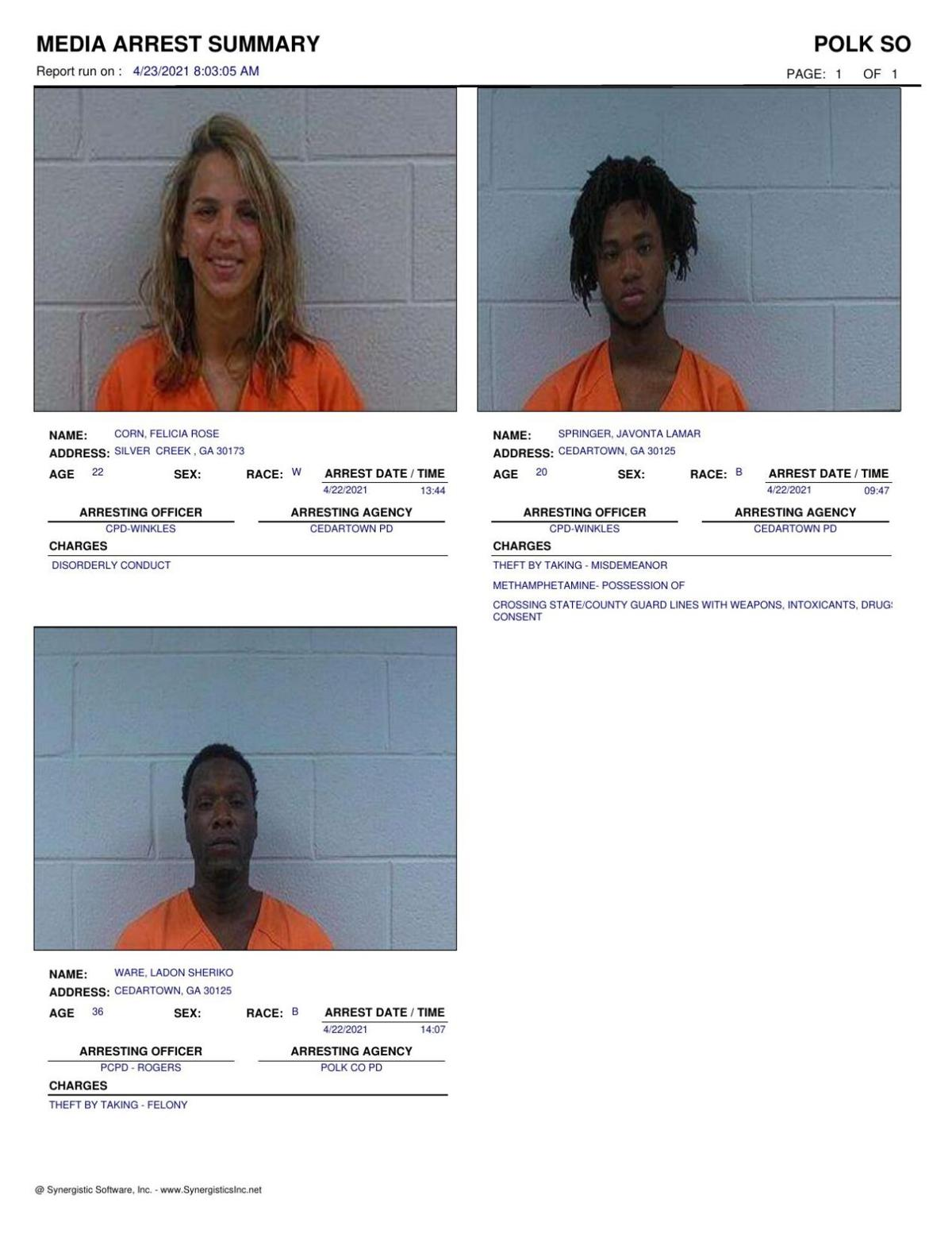 Polk County Jail Report for Friday, April 23