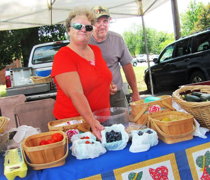 Fruits berries showcased at local farmers market for Polk fish wrap