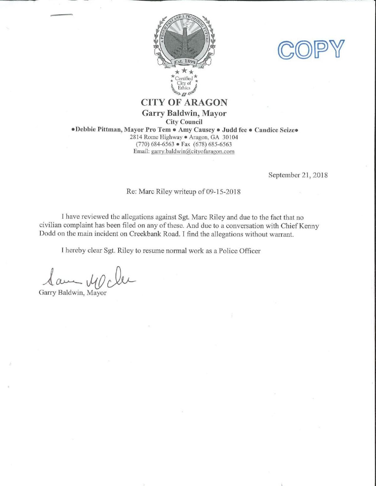 download pdf city of aragon letter from mayor garry baldwin clearing marc riley of allegations