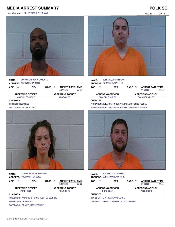 Polk County Jail Report for Thursday, Sept. 17