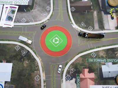 Cloud Springs Rd. Cross St. Roundabout