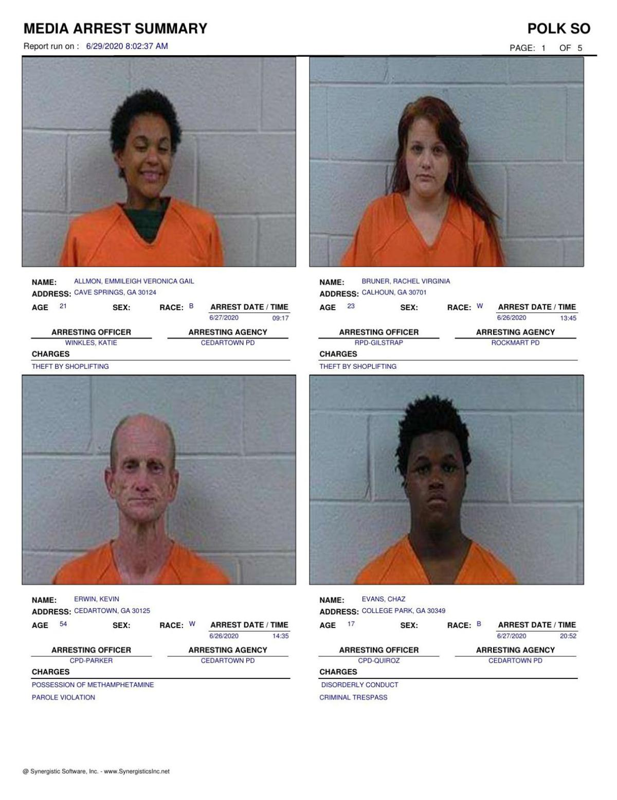 Polk County Jail Report for Monday, June 29