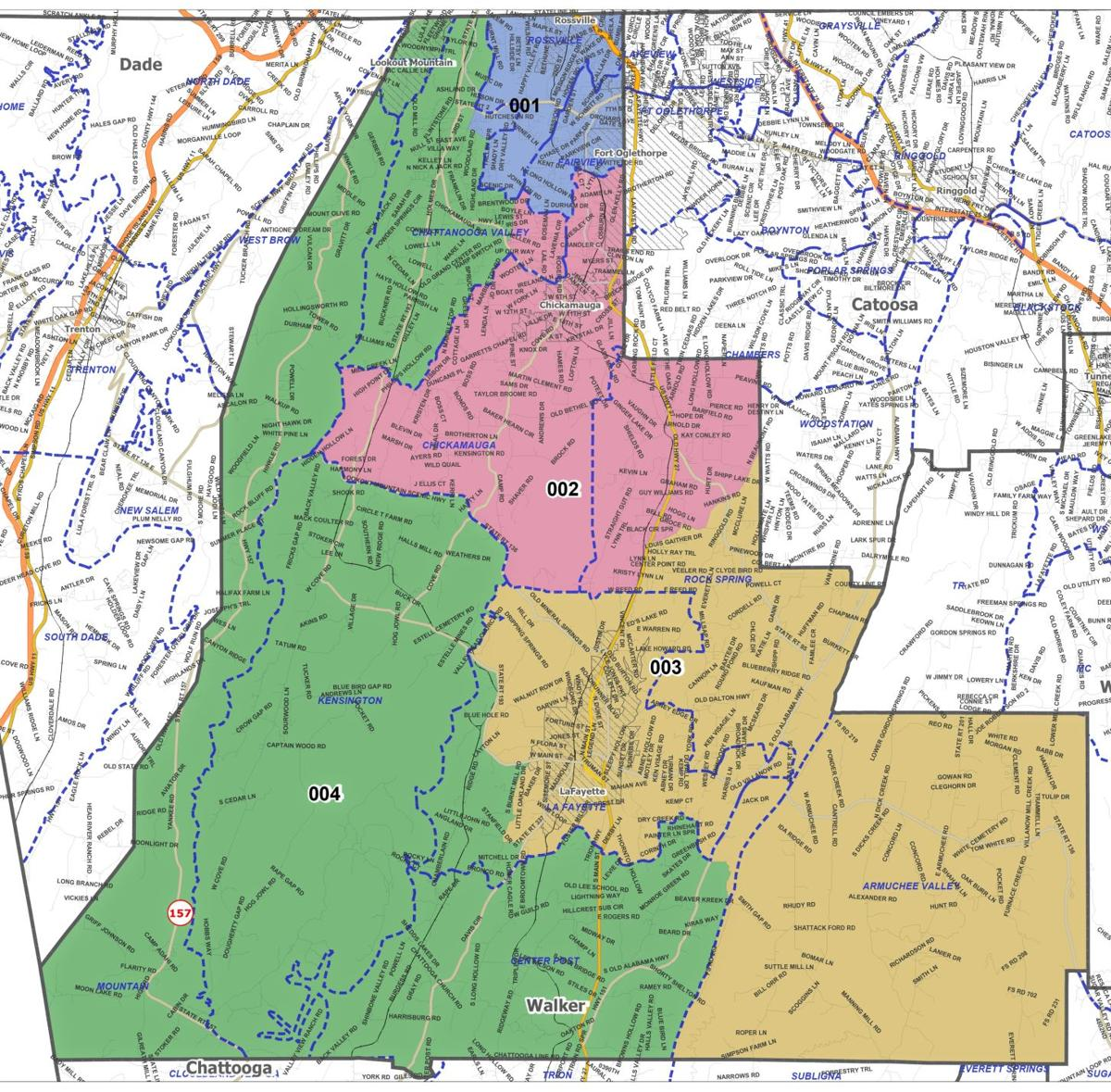 Walker County four districts map