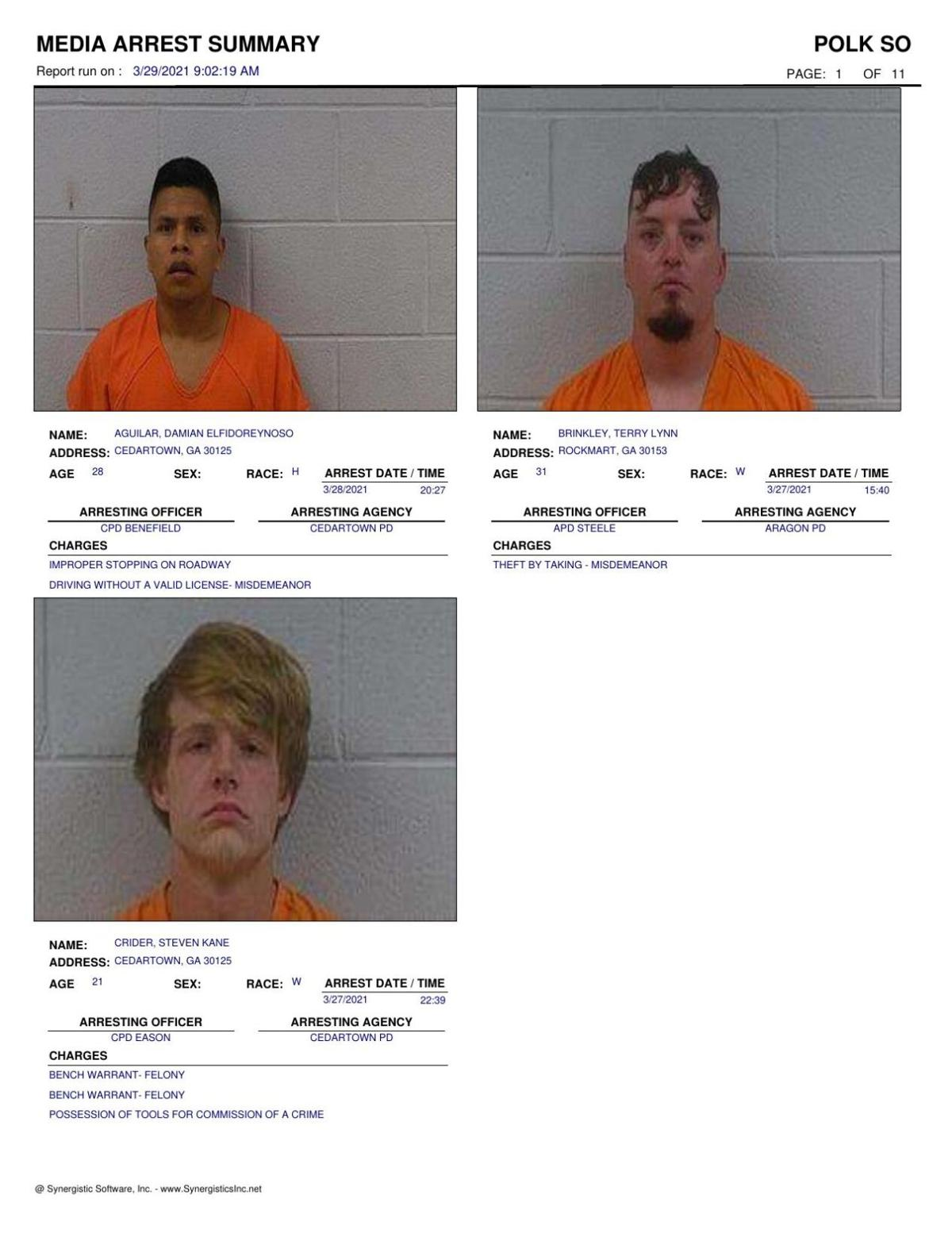 Polk County Jail Report for Monday, March 29