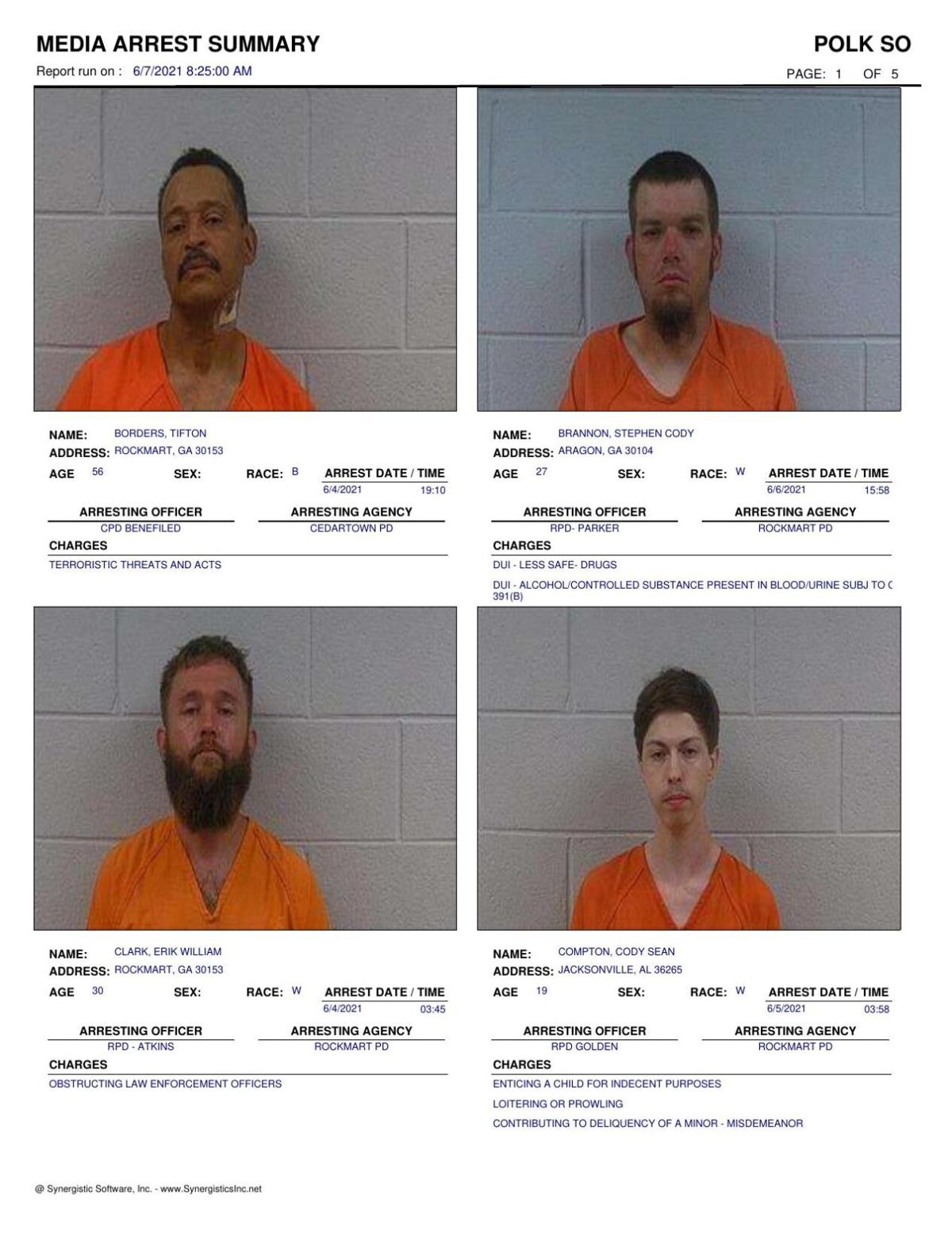 Polk County Jail Report for Monday, June 7