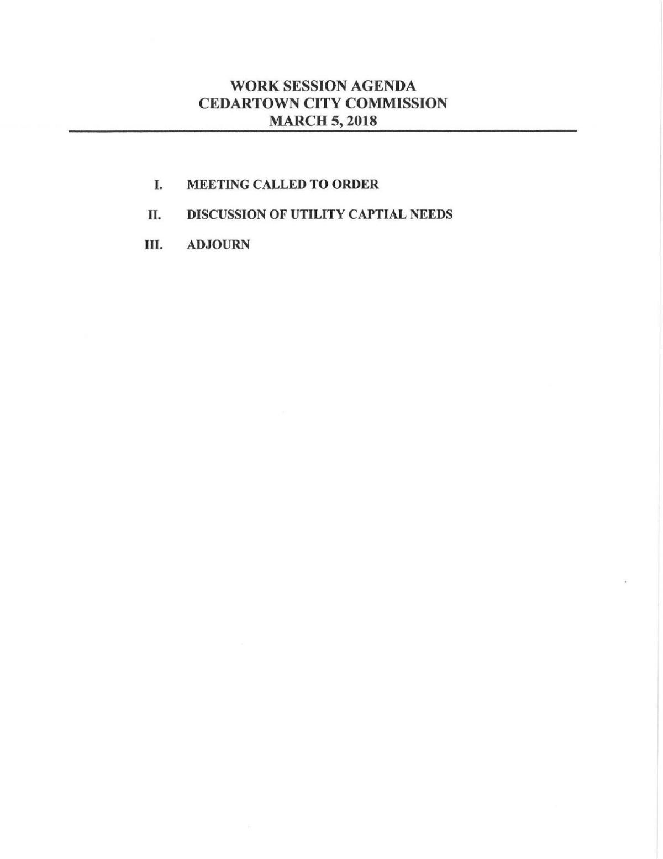 Cedartown City Commission work session agenda - March 5, 2018