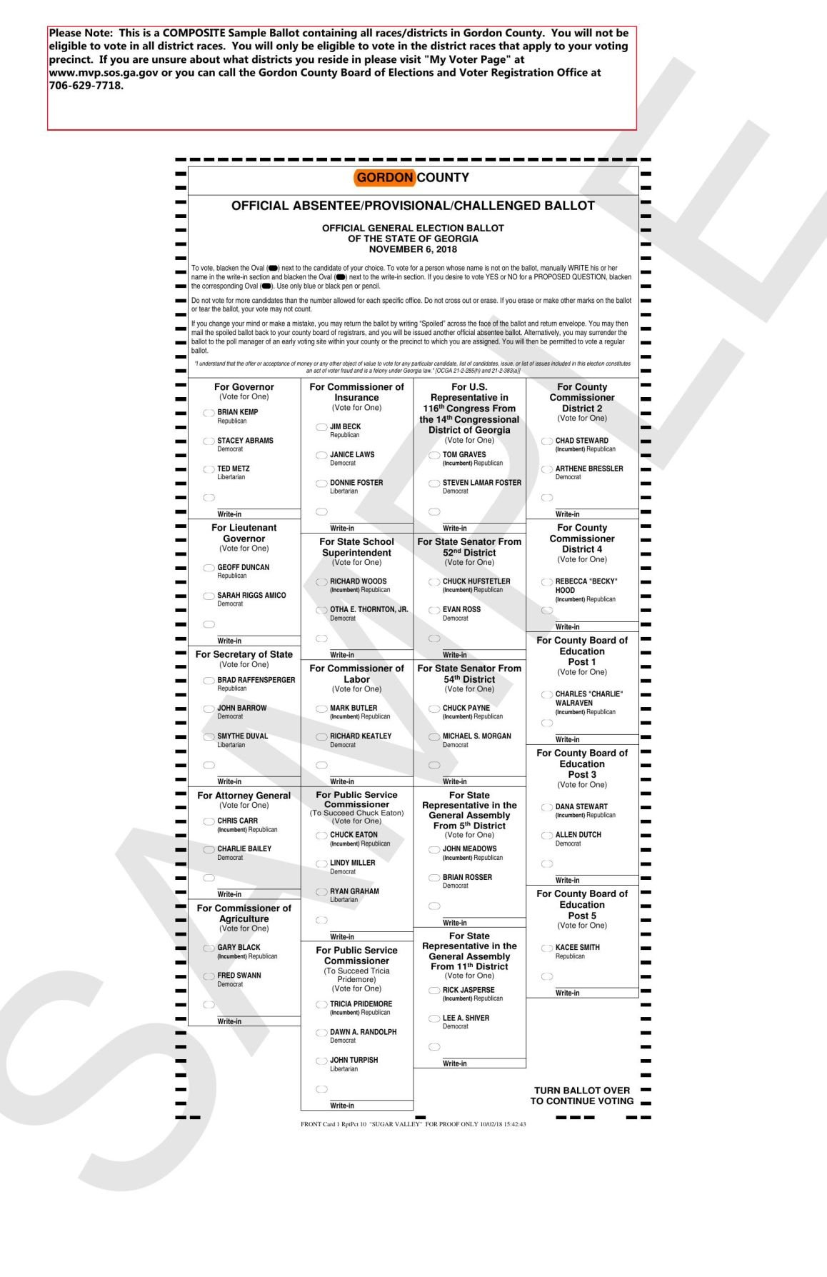 third image of Sample Ballots For Nov 6 General Election with Gordon County sample ballot for Nov. 6 general election ...