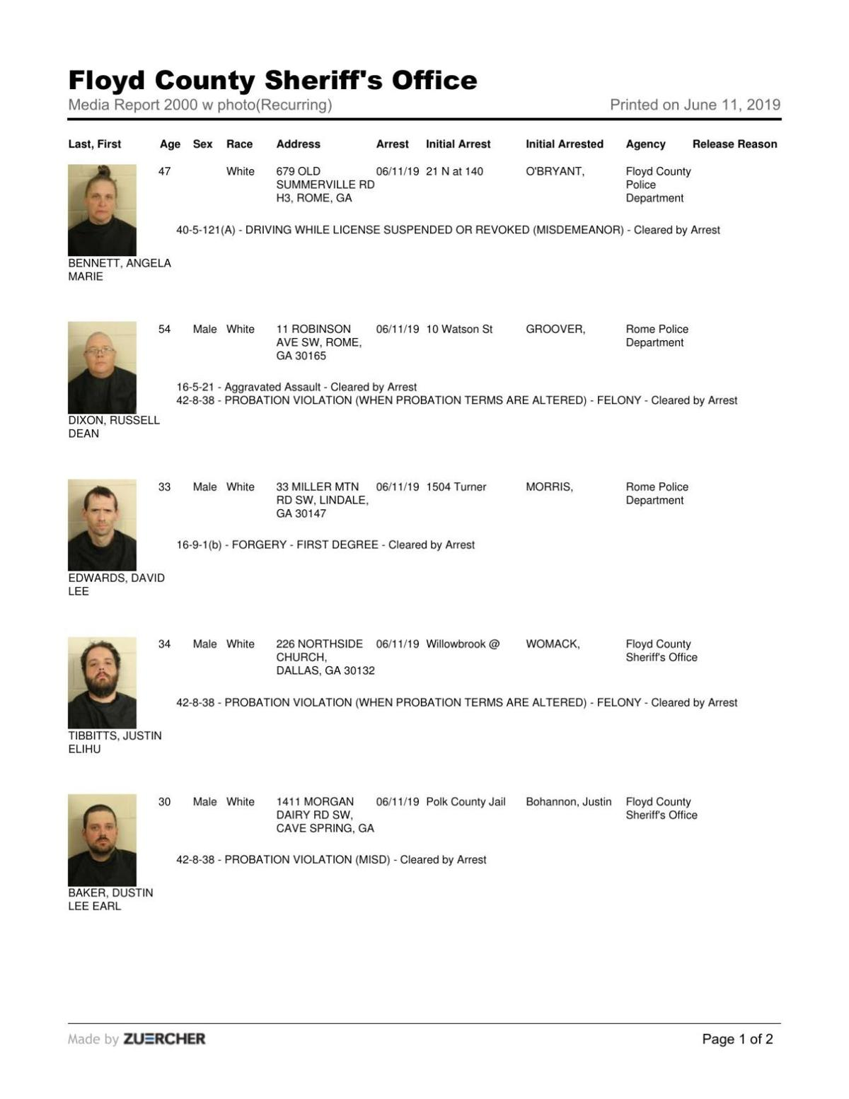 Floyd County Jail reports for Tuesday, June 11
