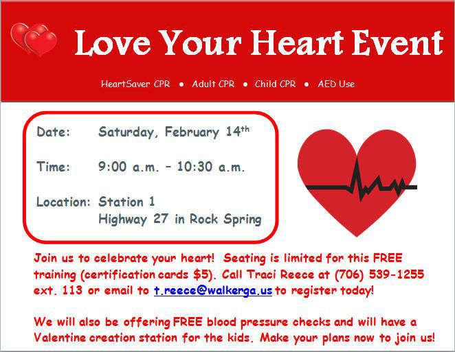 Walker County Emergency Services Hosting Valentines Day Love Your