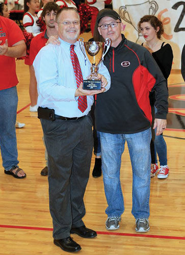 Sonoraville wrestling coach Randy Steward and principal Bruce Potts