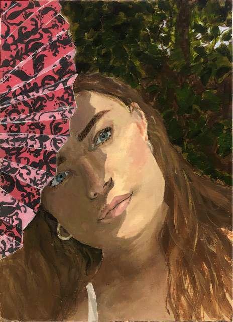 """Second Place: Elle Smith, Darlington School, """"Pink Fan Self Portrait"""""""