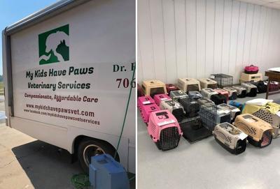 My Kids Have Paws van, crates