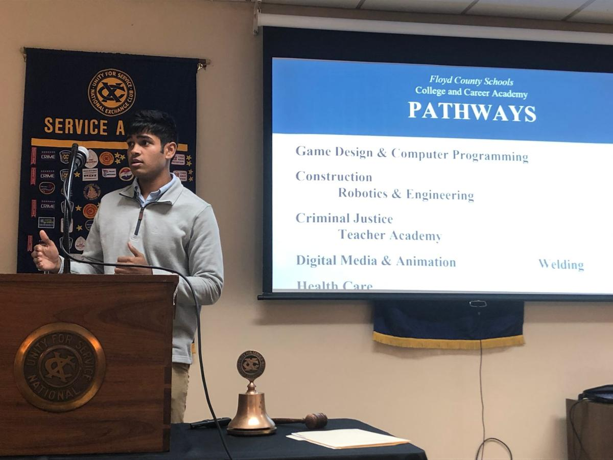Floyd County College & Career Academy students take over Exchange Club meeting