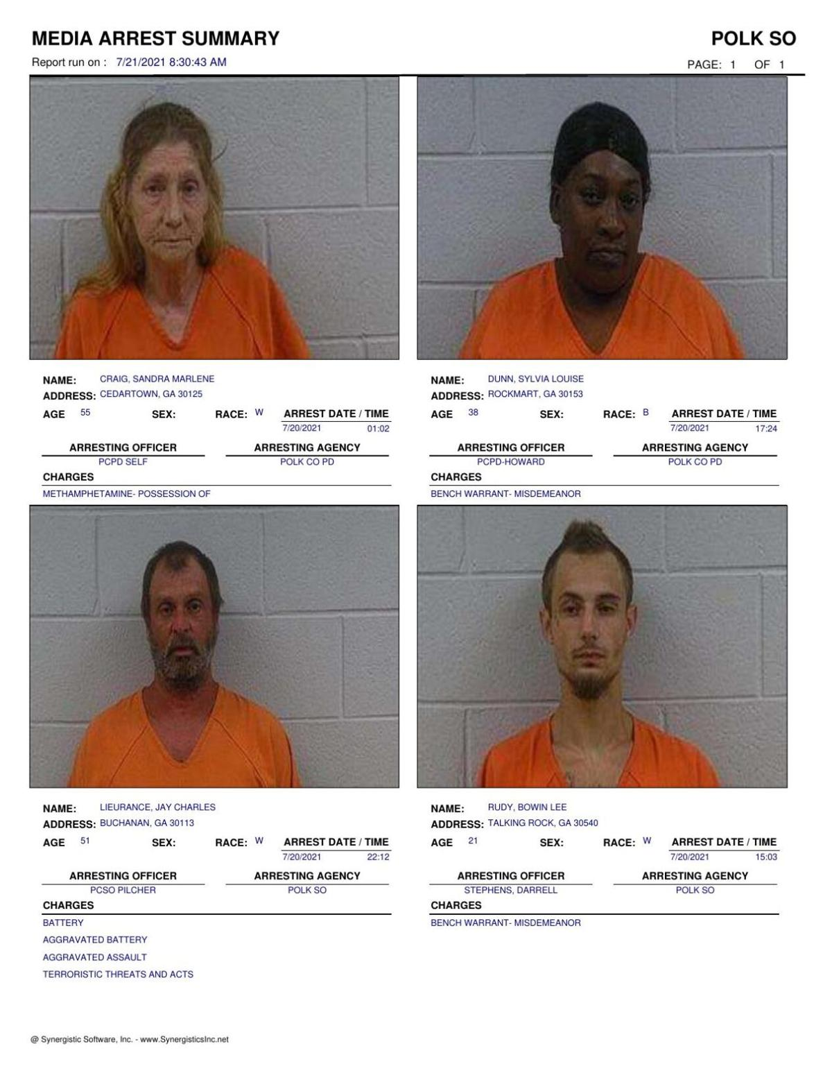 Polk County Jail Report for Wednesday, July 21